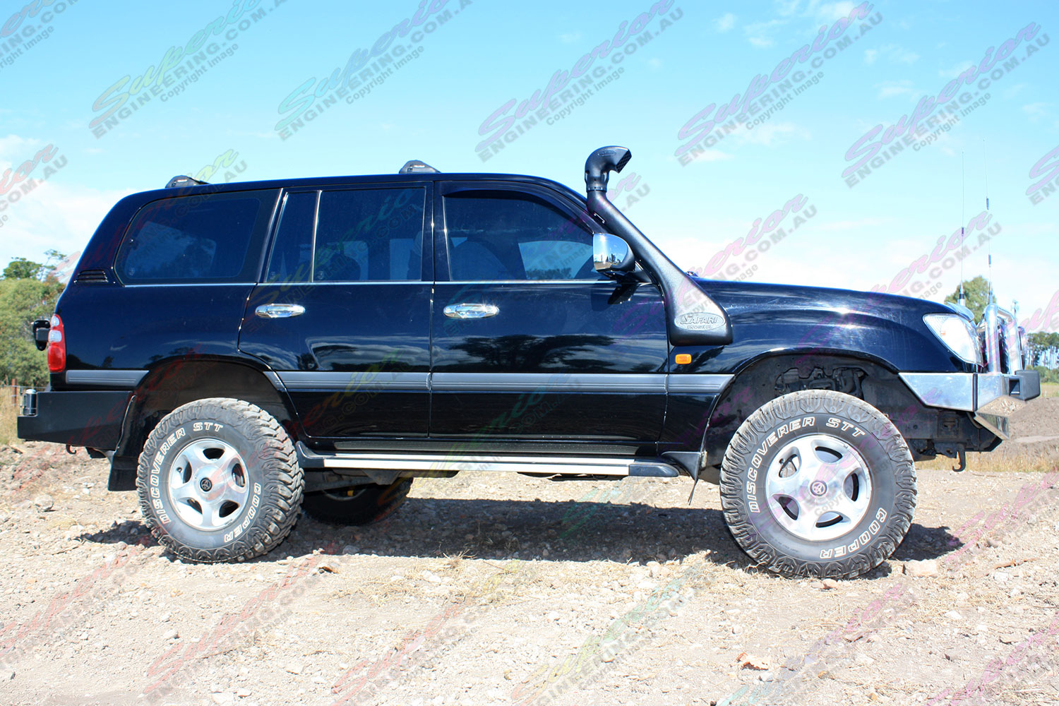 "Right side view of a Toyota Landcruiser 100 Series IFS fitted with 2"" inch lift kit from Superior Engineering"