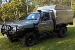 Nissan Patrol GU Ute fitted with a 3 Inch Profender Airbag Lift Kit