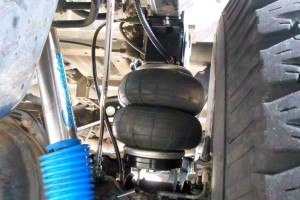 Closeup view of Leaf helper springs fitted to the Landcruiser