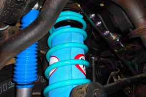 Closeup view of the Airbag Man airbags in Superior coil springs