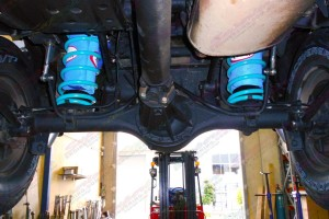 Underside view of the Nissan Patrol fitted with airbags, coils and shocks