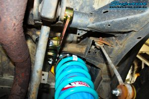 """Rear underbody view of both fitted 4"""" Coil Airbag with Coil Spring & Coil Tower Brace"""