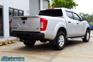 """Rear right view of a Grey Nissan NP300 Navara Ute before fitment of a Superior Nitro Gas 4"""" Inch Lift Kit + Airbag Man 2"""" Coil Air Kit Helper, Ironman 4x4 Flomax Air Compressor and Nitto Trail Grappler Tyres with King Gator Wheels"""