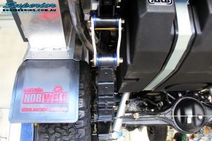 """Rear left underbody shot of the fitted Leaf Spring with a Airbag Man Leaf 3"""" Inch Air Lift Kit"""
