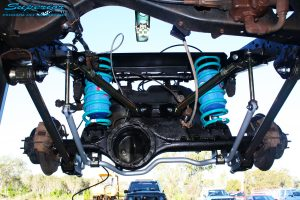 """Rear underbody view looking back on the fitted Superior 2"""" Inch Rear Coil Conversion Kit"""
