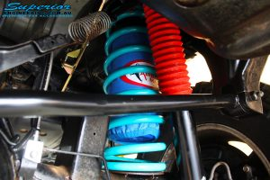 """Rear right inside close up shot of the fitted 3"""" Inch Airbag Man Coil Air Helper"""