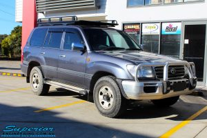 "Right front side view of a Grey Toyota 100 Series Landcruiser before fitment of a 2"" Inch Lift Kit with Airbags"