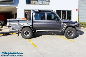 Right side view of a Grey Toyota 79 Series Landcruiser Dual Cab before fitment of a range of Suspension Components and 4x4 Accessories