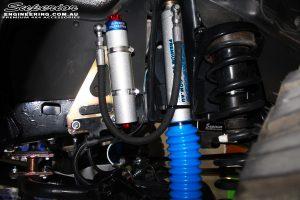"Front left inside shot of the fitted 3"" Inch Adjustable Monotube Remote Reservoir Shock + Mount"