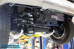 Front right view looking backwards of the underbody with fitted Superior Superflex Radius Arms + Superior Diff Guard & Superior Radiator Guard