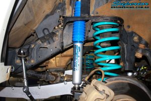 """Front right inside guard view of the fitted Superior Nitro Gas 2"""" Shock + Coil Spring, Swaybar Extension & Hybrid Superflex Radius Arm"""