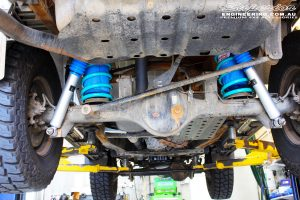 "Rear mid underbody shot of the fitted Superior 2"" Nitro Gas Shocks with Coil Springs"