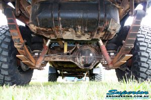 Rear mid underbody view of the leaf springs before fitment of the Coil Conversion