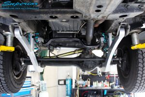 Mid underbody shot of the fitted Superior Radius Arms with Superior Alloy Swaybar Extensions